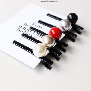 韓國小香風珍珠一字夾簡約小號鴨嘴夾邊夾子髮飾