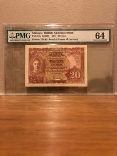 Malaya 1941 20 cent