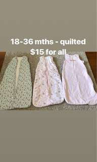 Quilted sleeping bags 18-36 months x 3