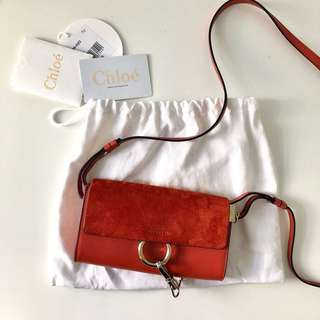 Chloe Faye Mini Leather and Suede Bag