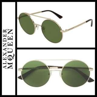 Alexander McQueen round titanium sunglasses