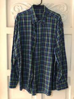 Saville Row Company Plaid Green Blue Longsleeves
