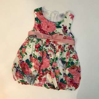 Floral baby girl dress with bow fit 0-6 months party