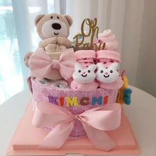 Premium Baby Diaper Cake 1-Tier for New Born Girl / Baby Shower Hamper / Birthday Gift