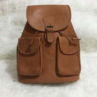 REPRICE!! Brown Leather Bag pack
