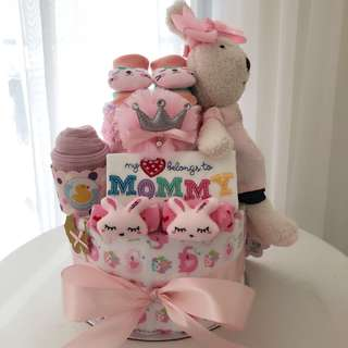 Baby Diaper Cake 2-Tier with Bunny for New Born Baby / Baby Shower Hamper / Birthday Present
