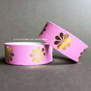 FREE NORMAL MAIL - Flower Gold Foil Washi Tape #023