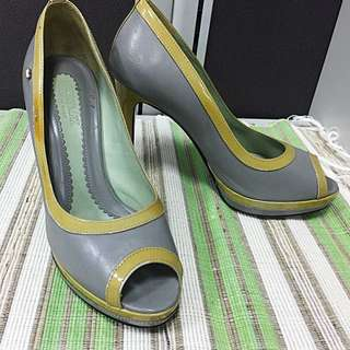 REPRICE!! Grey - Yellow High Heels, Sportmax Made In Italy