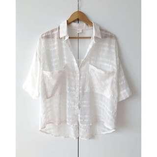 🚚 韓國品牌 MILK CANDY 寬版短襯衫(白/半透)