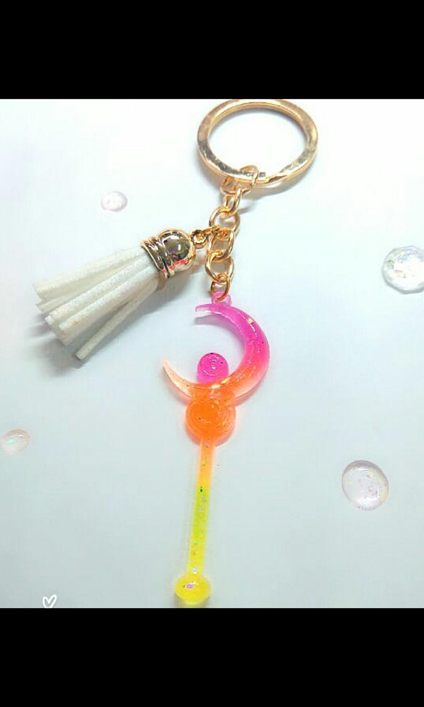 超美美少女戰士月亮鑰匙圈  水晶膠#UV膠#手作飾品
