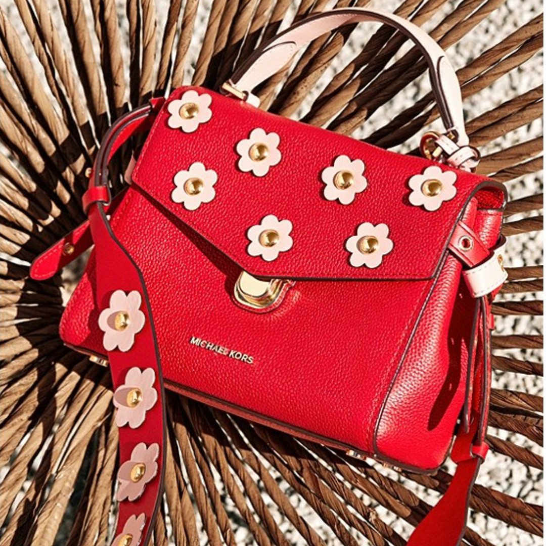 0ad1ff2411683 Authentic MK Michael Kors Bristol Floral Appliqué Leather Crossbody ...
