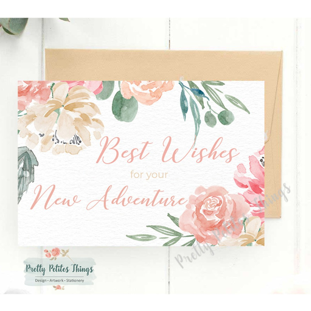 Customizable Watercolour Floral Farewell Card Best Wishes For Your