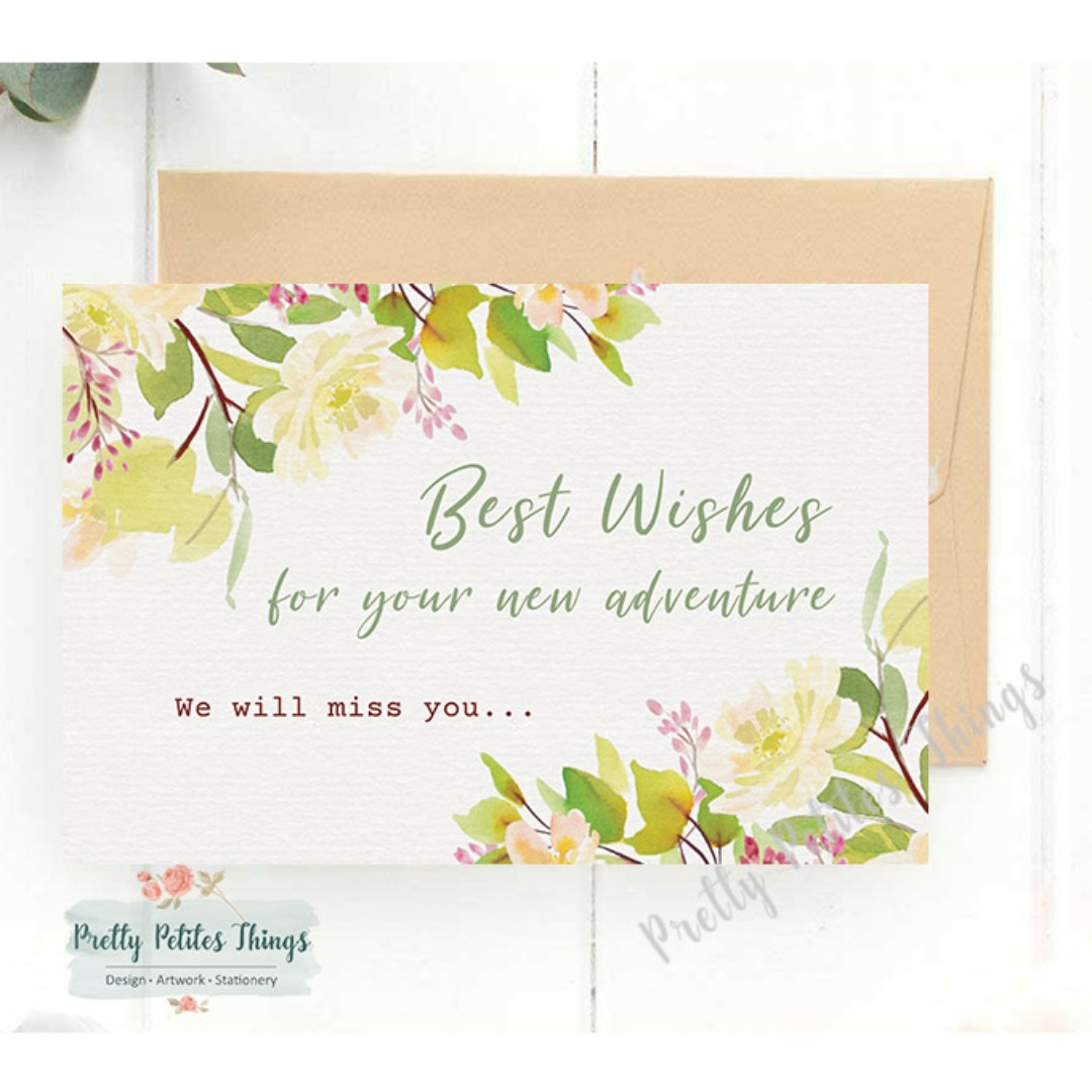 handcrafted watercolour floral farewell card  all the