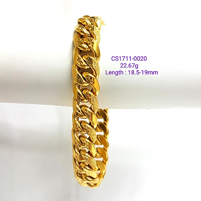 bracelet gold clasp miami semi yellow brc inches hollow box cuban