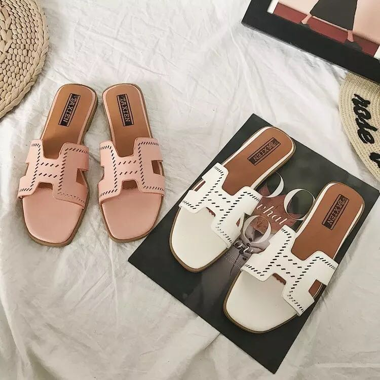 a1981751f33f H-type slippers female summer new Korean version of the word finger drag sand  flat wild students fairy vacation beach shoes