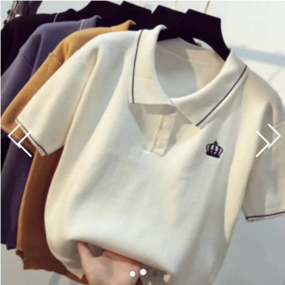 6b4a9fc32319d Instock Knitted Basic Polo Tee Ulzzang