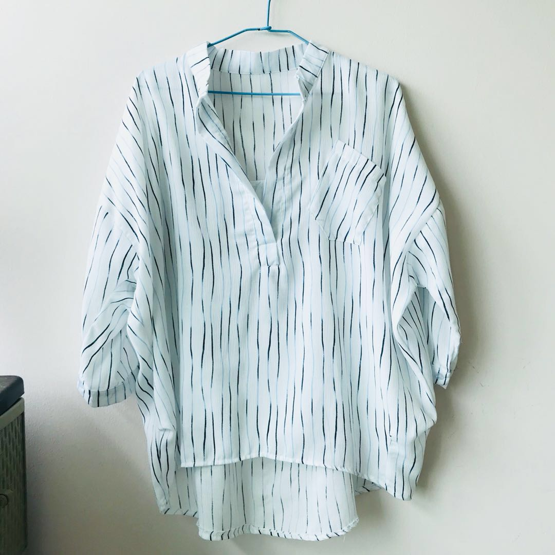 99ddb429 Korean Ulzzang Oversized Striped Blouse, Women's Fashion, Clothes ...