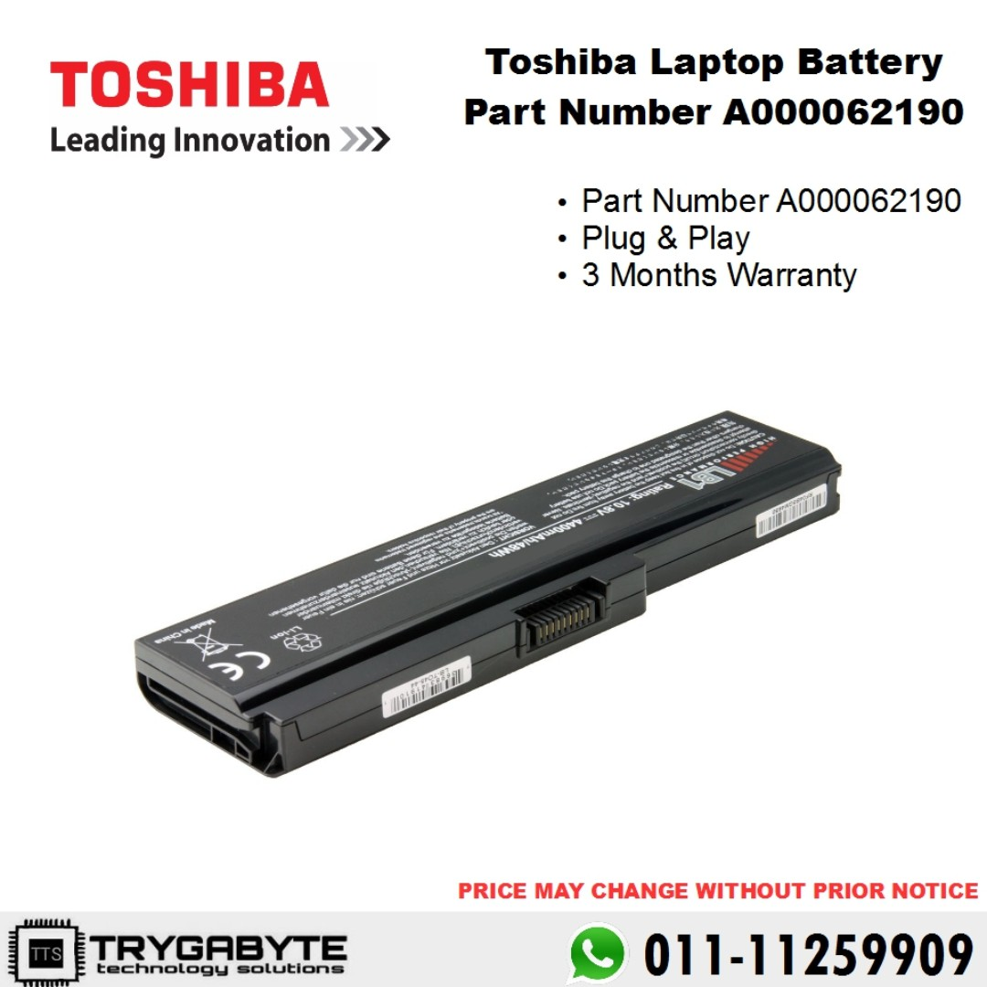 Laptop Toshiba Battery Part Number A000062190 / Laptop Battery Replacement / Laptop Battery / Bateri Laptop Rosak / Tukar Battery Laptop, Electronics, ...