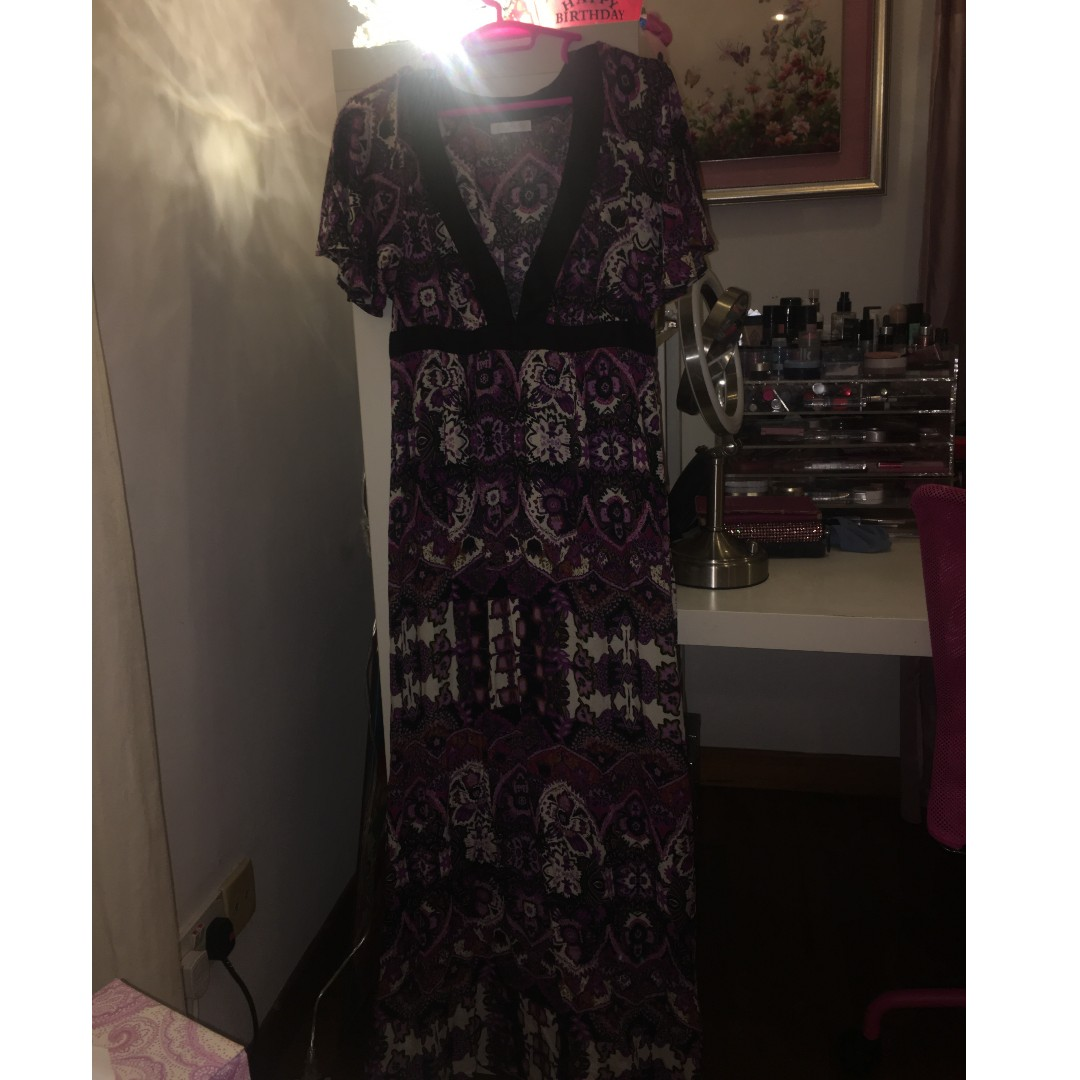 84f553691f70 Long Purple and Black Colorful Beach Summer Dress by Promod Size UK ...