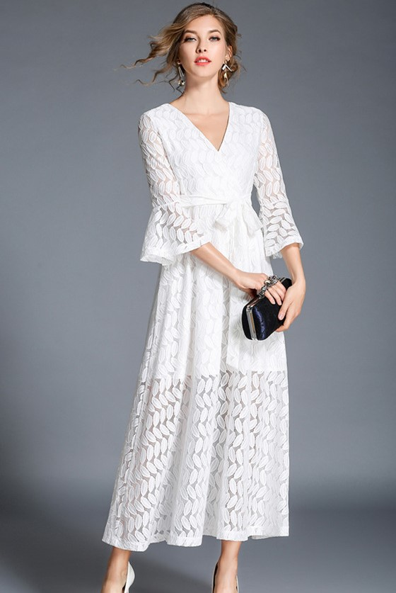 cfeb9d56d1 Maxi: White Autumn V-Neck Lace Leaves Long Dress (S / M / L / XL ...