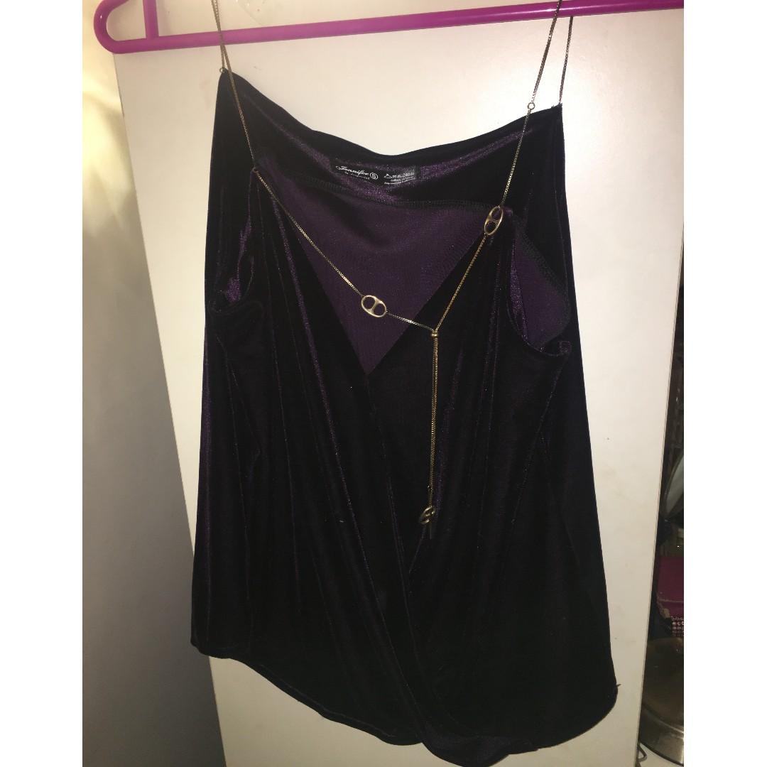 e2927e74431ace Purple Velvet Silk Gold Strap Korean Design Top Blouse, Women's ...