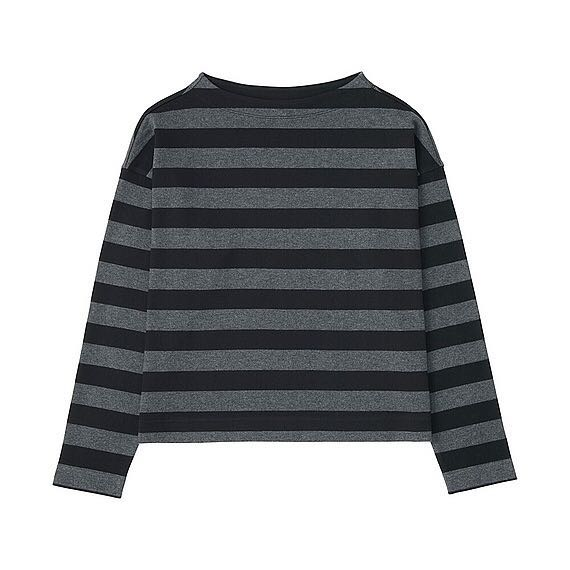 6b7c54106 Uniqlo Striped Cropped Mock Neck Long Sleeve T-Shirt, Women's ...