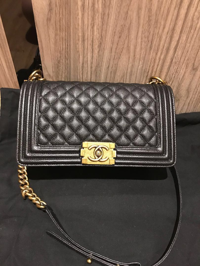 af1e864845c2 Very rare! BNIB Chanel Boy old medium Caviar Black with antique gold  hardware, Luxury, Bags & Wallets on Carousell