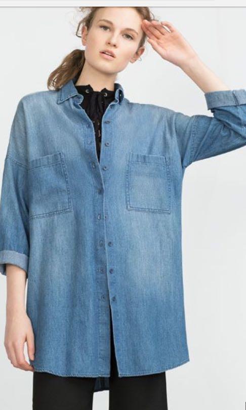 Zara Oversized denim top