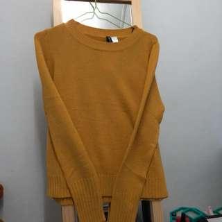 🚚 薑黃色針織薄長袖(H&M購入)