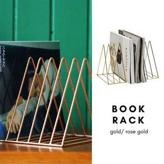 Wire Triangle Book Rack/ Gold/ RoseGold/ Desk Organiser/Magazine/File/Letter/Envelope Sorter