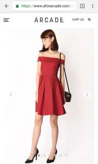 Aforarcade Kristen Off Shoulder Dress - Red