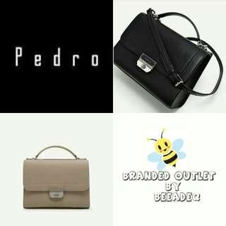 PEDRO SATCHEL DOUBLE ZIP  BEIGE & BLACK COLOR