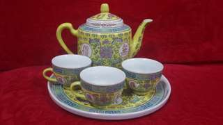 Chinese Wanshouwujiang Vintage Yellow Chinese teapot sets