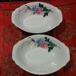 Handpainted 2pcs Chinese Vintage  Oval Big Bowls