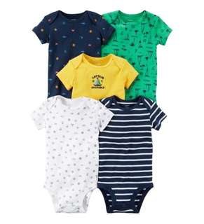 *3M & 12M* Brand New Carter's 5-Pack Short Sleeve Bodysuits For Baby Boy