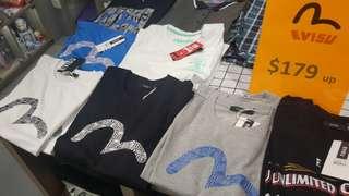 全新 中性 Evisu Tee 韓國版 絕對正版 男女合穿 黑色xs, s 白色s 藍色L, 灰色s