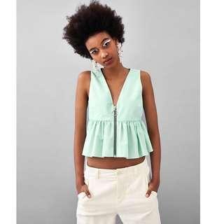 European and American style solid V-neck zipper sleeve hem lotus leaf waist vest