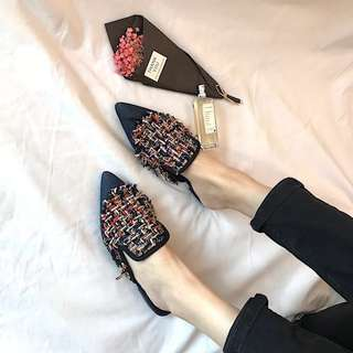 Embroidery Mulle shoes female pointed slippers female summer fashion wear Baotou embroidery sandals female flat with the room