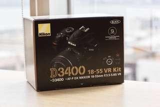 全新 Nikon D3400 with 18-55 kit set