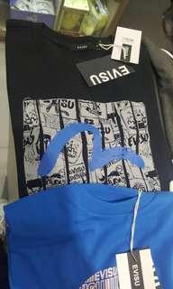 全新 中性 Evisu Tee 韓國版 絕對正版 男女合穿 只有黑色 S, M (XS=一般女裝M碼) (M= 一般男裝M~L)