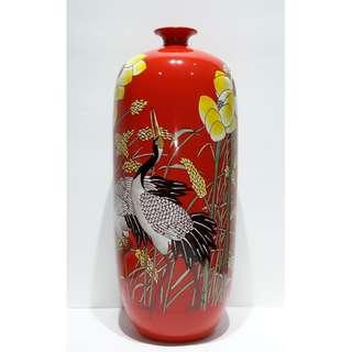 國大師寧鋼 -「歲歲平安 」粉彩、高溫顏色釉瓷瓶