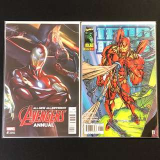 Avengers Annual #1 (Alex Ross cover), Iron Man #1 - #7 Vol 2 (Heroes Reborn). Jim Lee plot-line.
