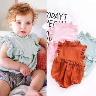 Baby girl baby cotton multicolor lace collar sleeveless piece romper