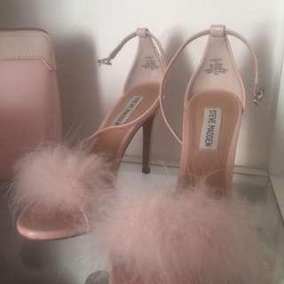 Steve Madden fur strappy sandals heels