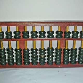 aaL皮商旋.已稍有年代早期木質復古型算盤!--保存良好具古早味值得收藏!/6房樂箱113/-P