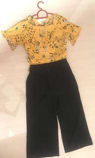 Formal top and pants set floral