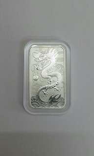 澳洲長方形龍銀幣一安士純銀