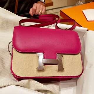5️⃣1️⃣🉐🎊正品 全新 Hermes Constance Mini L3 紫粉色 Evercolor 銀扣上膊斜揹袋