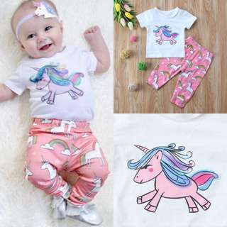 Infant Baby Girl Kid Unicorn Sweatshirt Tops+Long Pants Outfits Tracksuit 0-18M