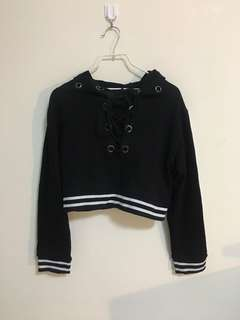 Criss Cross Black Hoodie Jacket
